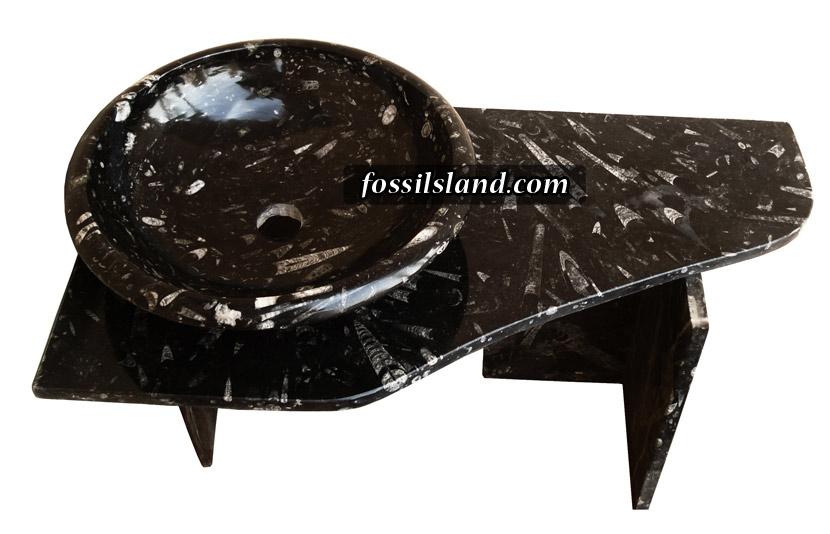 Lavabo Avec Une Long Tablette Et Vasque Bol En Marbre Fossilifère