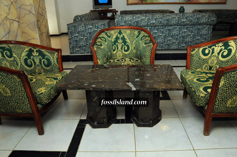 Table basse rectangulaire en marbre fossilif re d 39 erfoud - Table en marbre rectangulaire ...