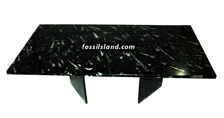 Table Rectangulaire En Marbre Naturel Noir Fossilifere